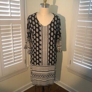 BOHO DRESS Black and Cream, 3/4 Sleeve